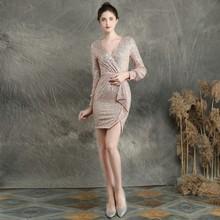 YIDINGZS короткое вечернее платье с блестками элегантное вечернее платье с длинным рукавом YD16586(Китай)