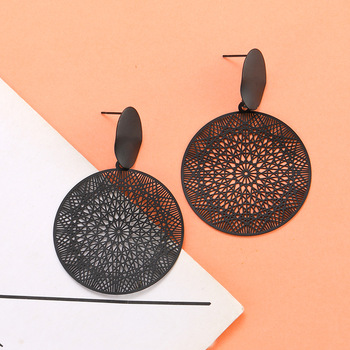 Korean hollow-out pattern retro black palace exaggerated black hoop pendant earrings
