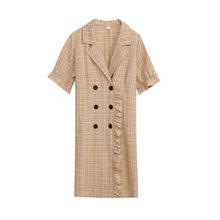 Женское клетчатое платье, свободное офисное платье-блейзер большого размера с коротким рукавом и принтом в виде листьев лотоса, вечерние ле...(Китай)