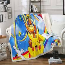 Одеяло Pokemon Pikachu с 3D принтом из шерпы, покрывало для дивана, покрывало для путешествий, постельные принадлежности, бархатное плюшевое Флисов...(Китай)