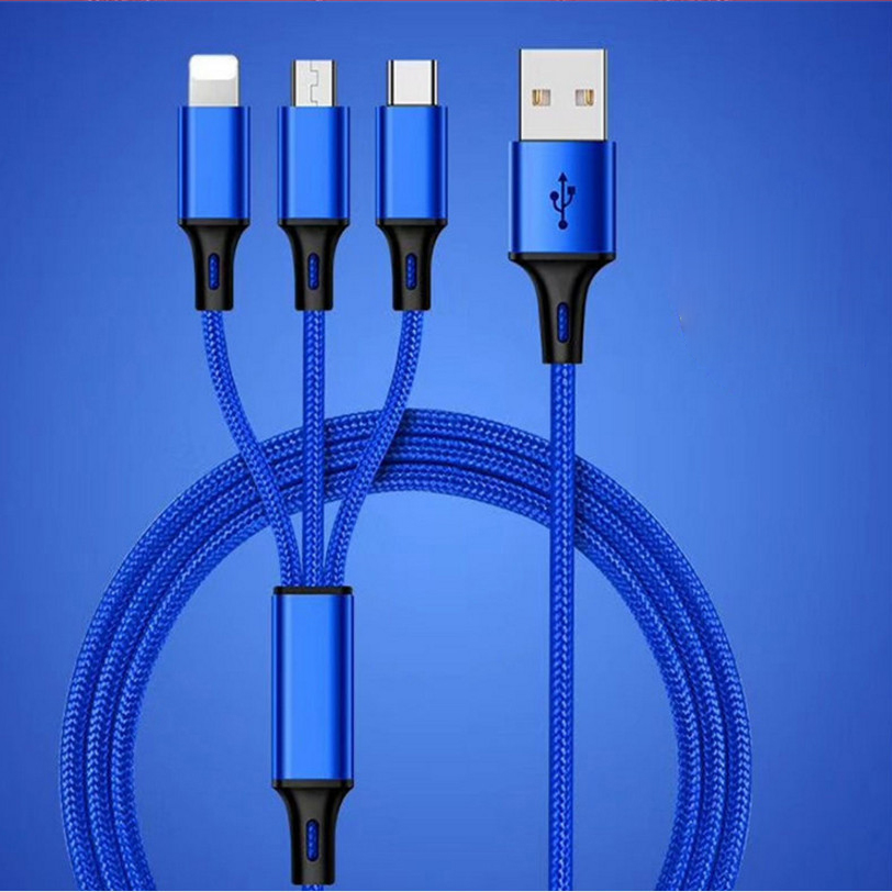 Android Mobile Phone Nylon Multi Charger Light Micro Type C 3 In 1 USB Charging Cable