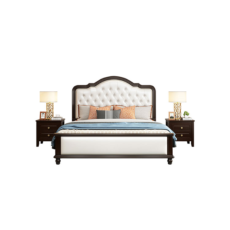 American  solid wood  double  light luxury  master  princess  European modern simple storage marriage bed