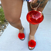 Red-ball fur slippers set