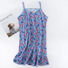 Женское хлопковое ночное белье с v-образным вырезом, летнее трикотажное домашнее платье без рукавов на бретелях, сексуальные ночные рубашки...(Китай)