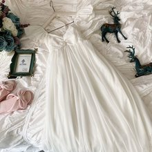 Женская ночная рубашка без рукавов, белая кружевная хлопковая ночная рубашка, винтажная свободная длинная ночная рубашка принцессы для лет...(Китай)