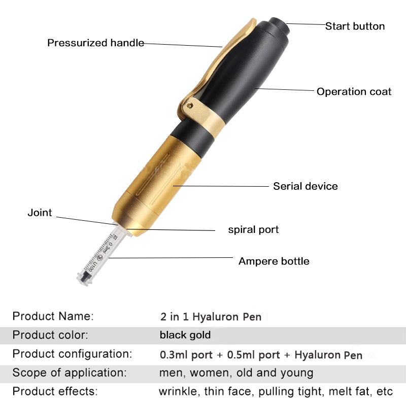 Multi Shoot 0.3ml and 0.5 ml Hyaluron Pen Sterile Atomizer Peptide Therapy Wrinkle Remove Lip Lifting Syringe