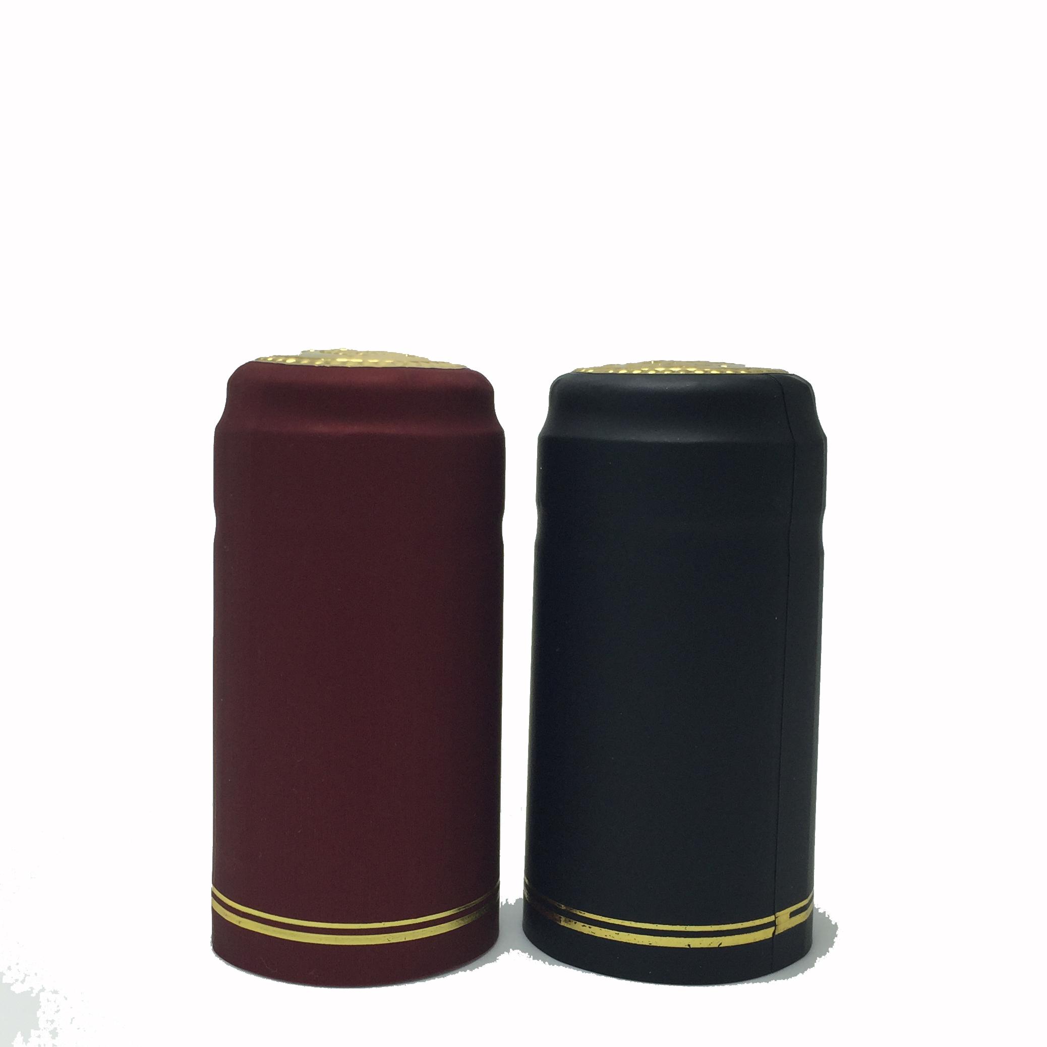 Черная пластиковая крышка капсулы из ПВХ, термоусадочная крышка для бутылок, термоусадочная крышка бордового цвета