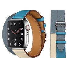 Ремешок из натуральной кожи для Apple Watch 5 4 42 мм 38 мм 44 мм 40 мм, ремешок для IWatch 5 4 3 2, мужской и женский браслет(Китай)
