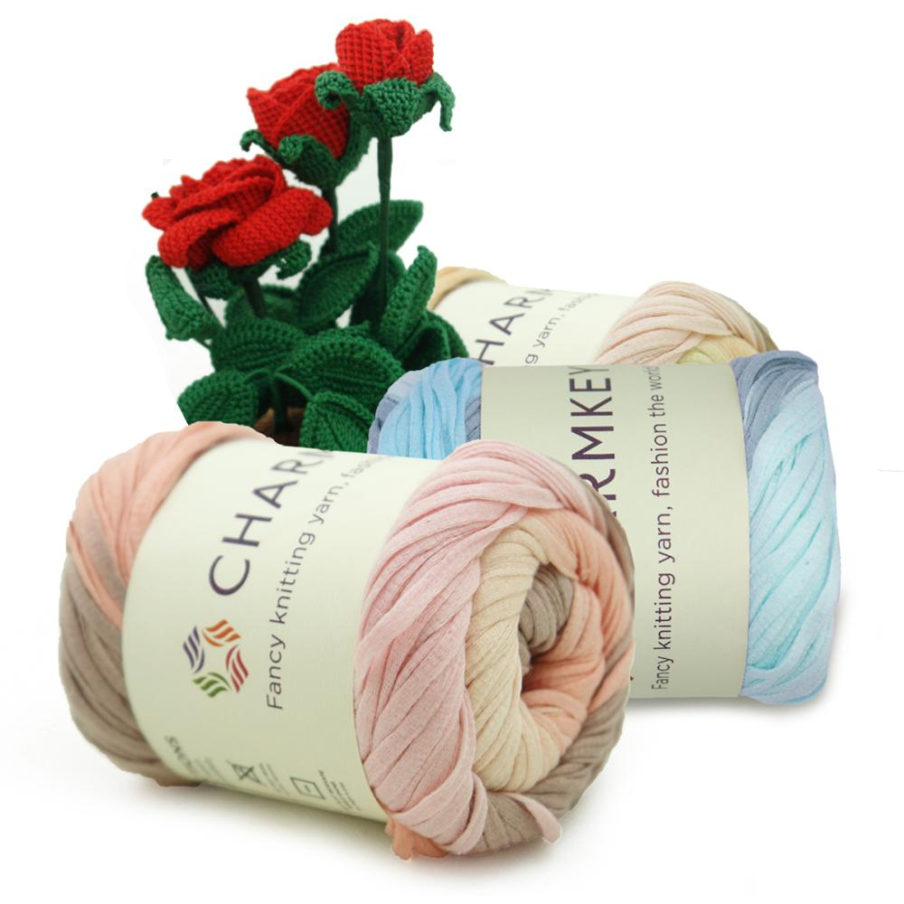 Charmkey cheap price fancy multi color bright crochet 100% cotton yarn for hand knitting t shirt free sample manufacture
