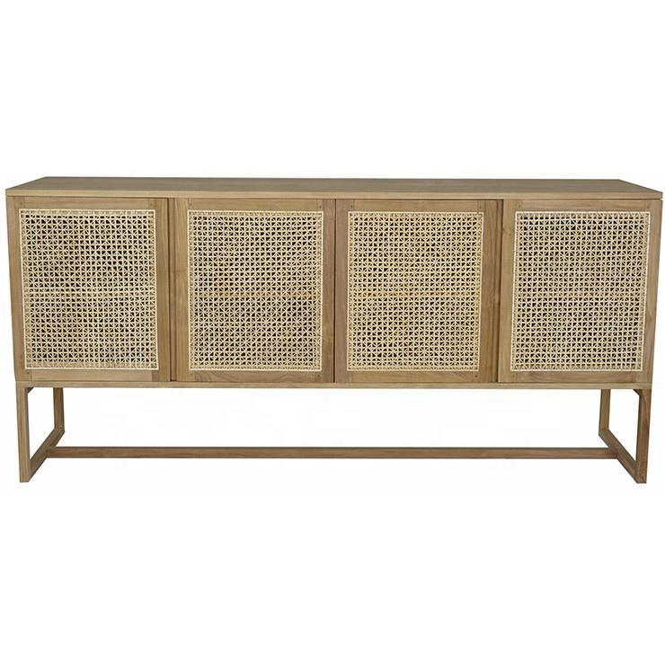 Nordic 4 Door Cane Rattan Wooden Sideboard Cabinet