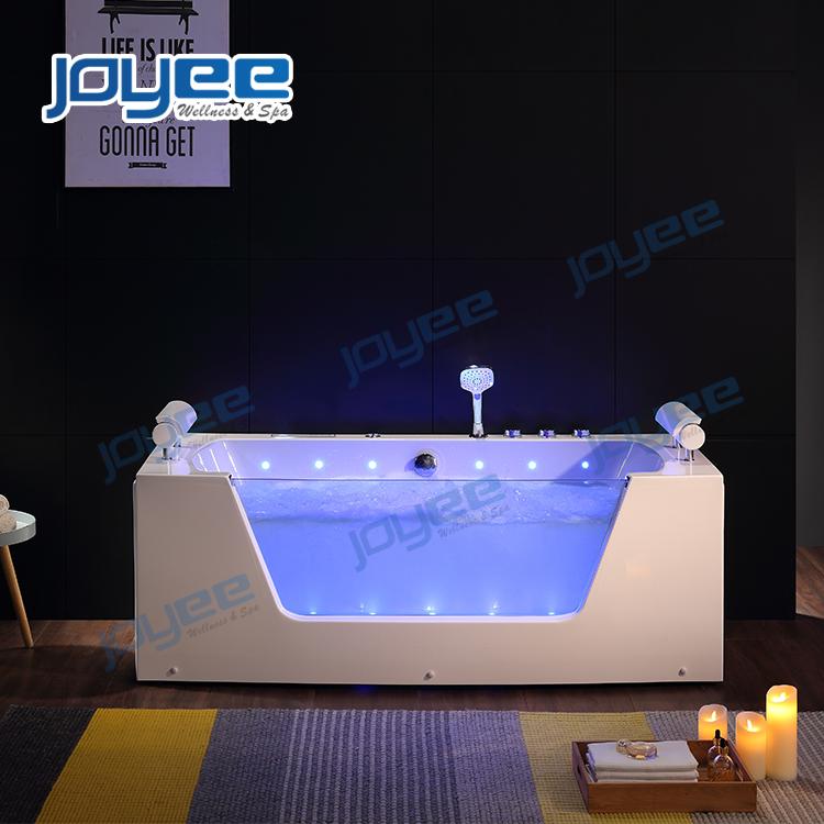 JOYEE Luxury Whirlpool Bathtub Air Bubble Massage Jets Hot Tub with LED Lights Jacuzzi Function Bath Tub