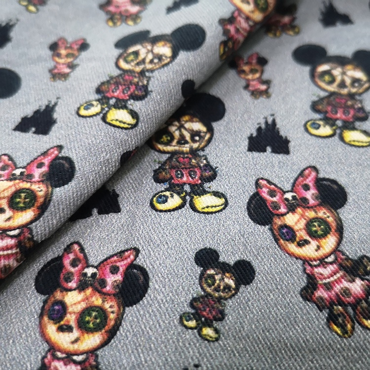 Custom Cartoon Flower Print Fabric Cotton Digital Printing Dress Fabric Manufacturer Printer Twill Fabric For Bed Sheets
