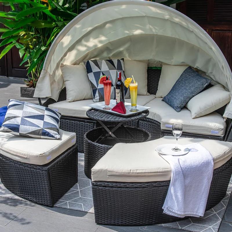 72,8 'широкая уличная мебель, круглая кушетка с навесом, патио из ротанга, плетеная дешевая садовая шезлонг с оттенком
