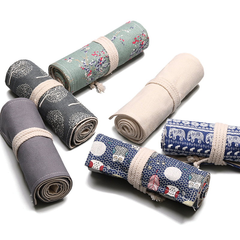 Fashion Canvas Pencil Roll Wrap Pen Bag Pencil Roll Up Holder Pencil Case Colored Printing