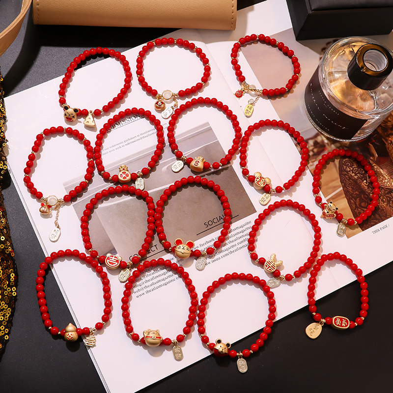 2020 New Arrivals Chinese Red Natural Stone Zodiac Rat Charm Necklace Good Luck Bless Zodiac Rat Mouse Mice Bracelet Accessories
