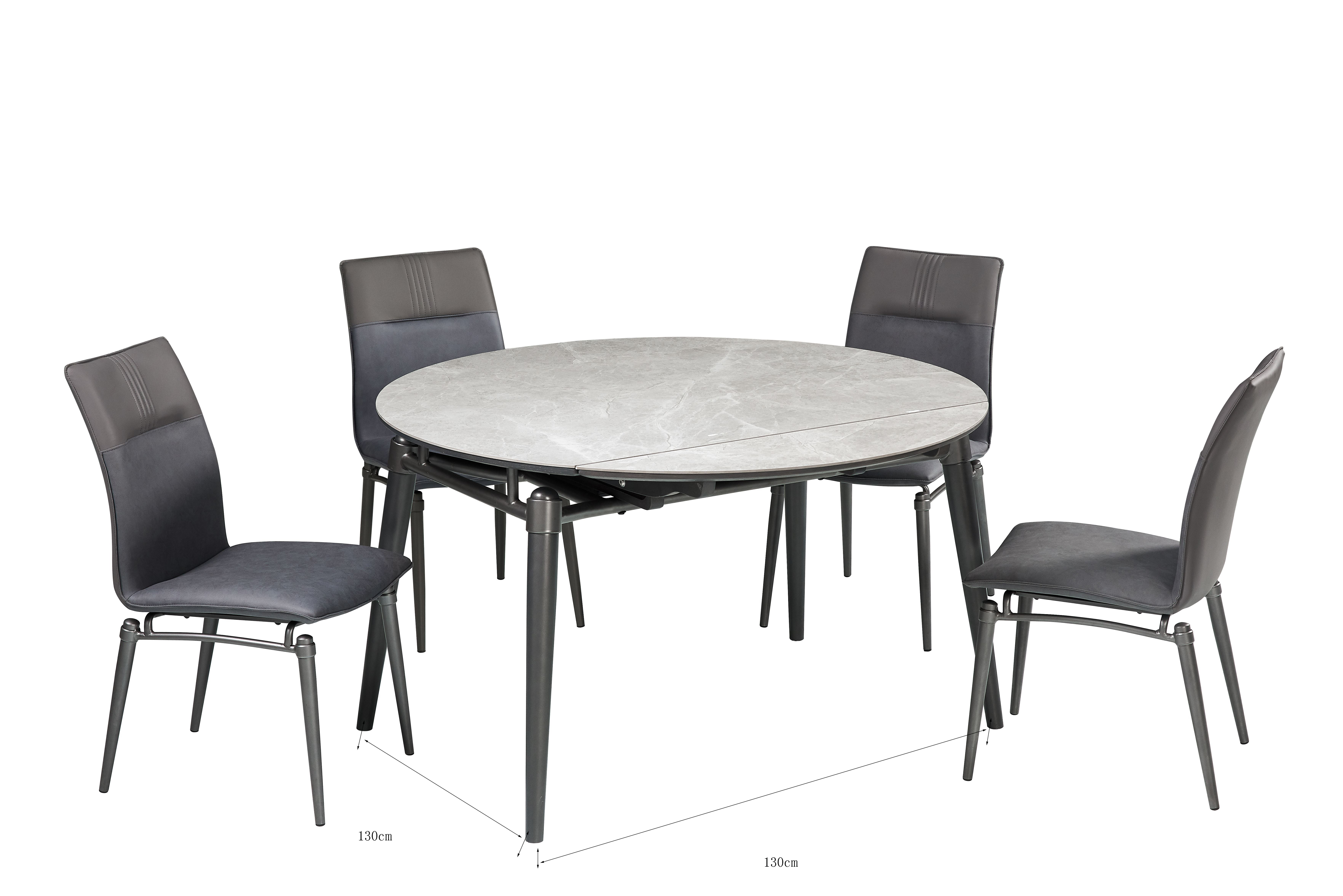 Table and chairs modern metal leg foldable table sintered top competitive price hot sale restaurant dining set