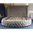 Dingzhi Furniture New Bed Room Furniture Design Luxury Wood Round Camas Velvet Storage King Size Bed