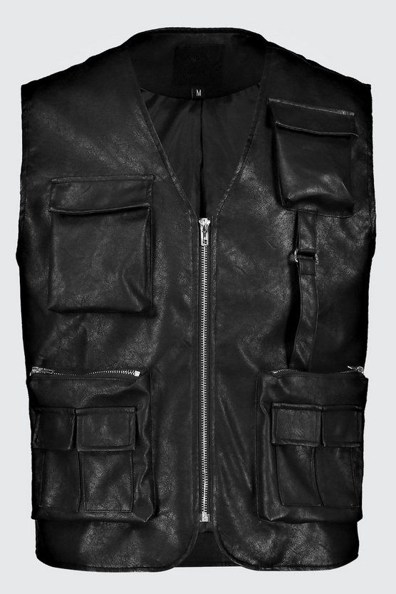 Custom Men's Utility Vests High Quality Fashion Wholesale Multi pocket Tactical Leather Motorcycle Vest for Man