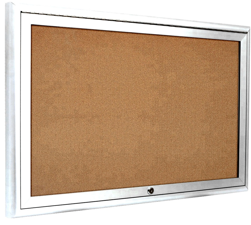 High Quality Acrylic Doors Enclosed Cork Memo Bulletin Board