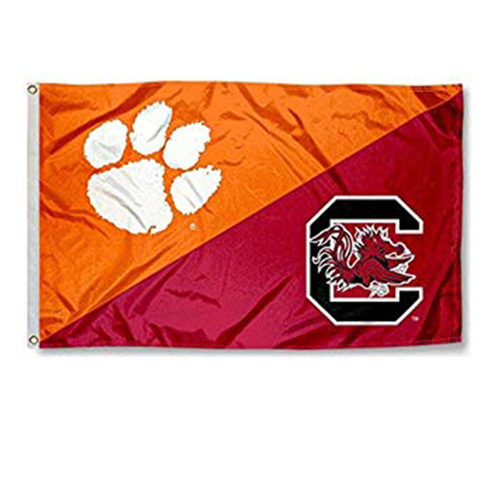 Custom 100% Polyester Clemson vs. USC Gamecocks House Divided 3x5 Flag