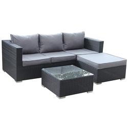 Garden Sofa Set Rattan Outdoor Furniture 4 Seat Rattan Corner Lounging Sofa Classical Corner Sofa and Armchair