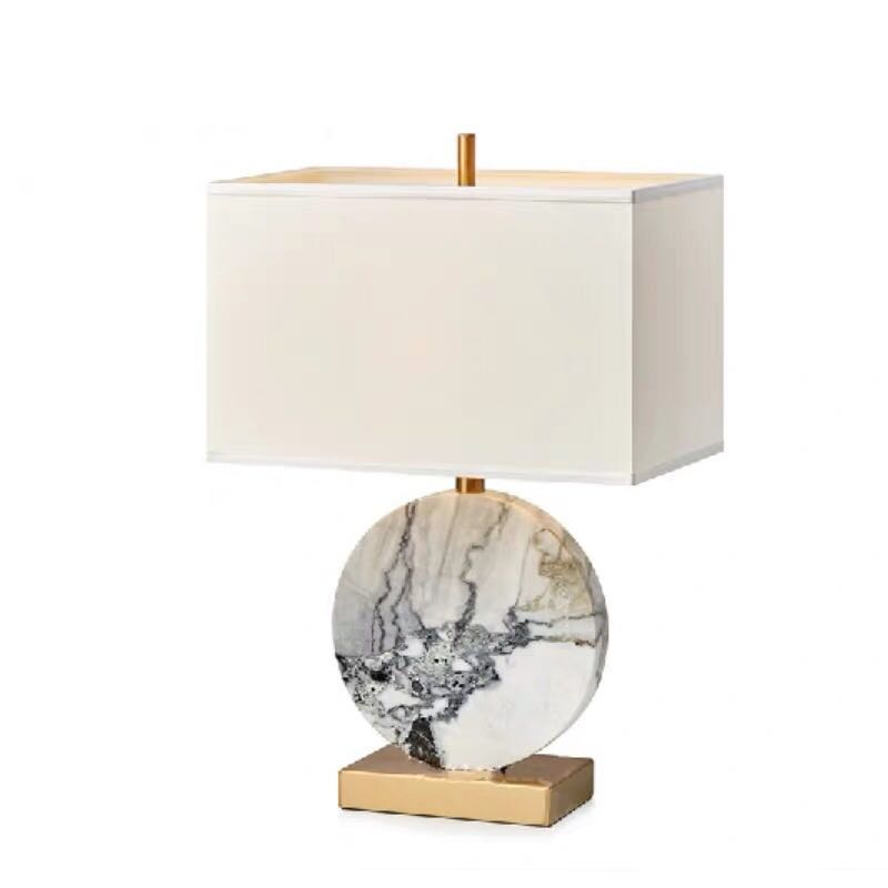 New Chinese Style Postmodern Marble Metal  Table Lamp Model Room Living Room Bedroom Study Office Table Lights Hotel Lobby Decor