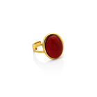 Red Stone Rings Chris April 925 Sterling Silver 18k Gold Plated Manmade Red Agate Stone Gemstone Rings