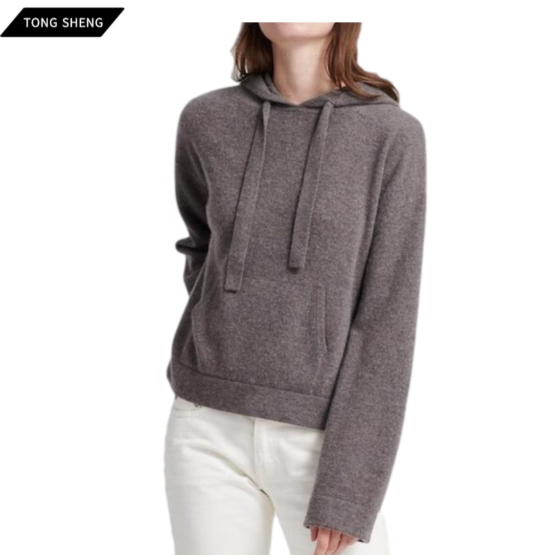 Knit 100% pure cashmere hoodie sweater women custom winter knit ladies 100 merino wool cashmere sweater hoodie woman