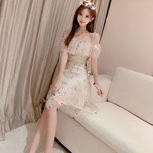 Платье с оборками и высокой талией, абрикосовое соблазнительное платье для путешествий, для путешествий, знаменитостей, 2020(Китай)