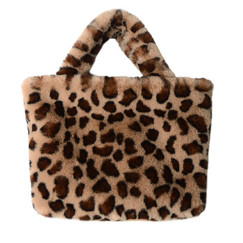 2020 latest fashion design female leopard print/fox/rabbit fur women's single-shoulder backpack/handbag/Clutch Bag