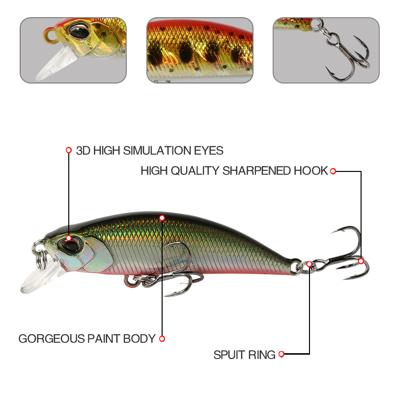 Top Right 5g 50mm 9045b Pesca Sinking Hard Bait Minnow Lures Fish Bait Lures