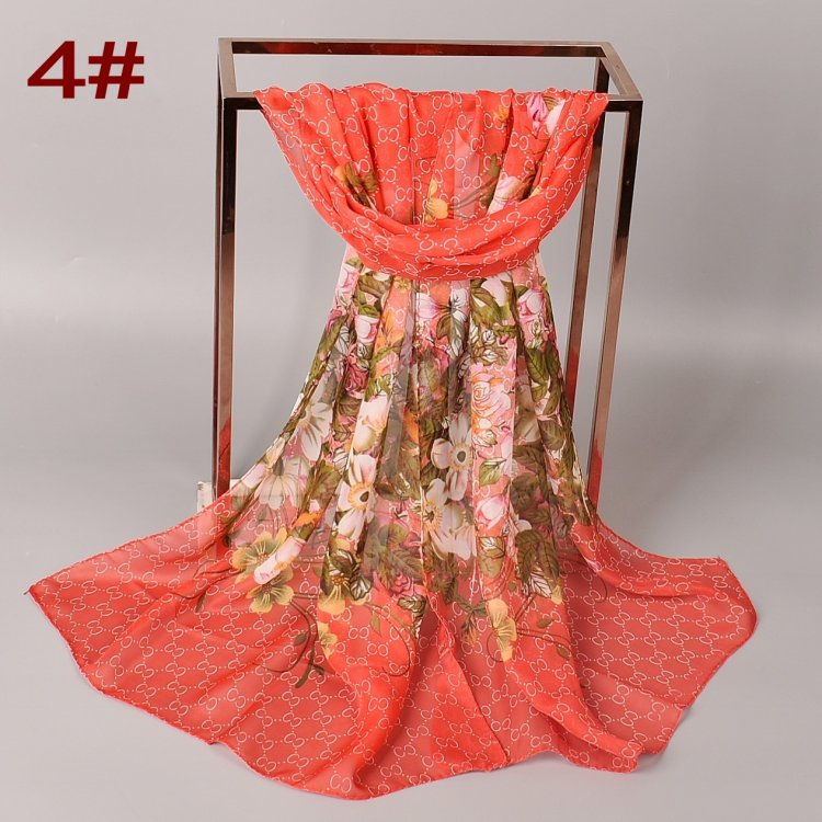 2020 Hot Spring new women Printed long soft chiffon scarf wholesale CC Small flower scarves stock Silk feeling