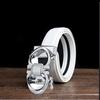 Zilveren gesp + split wit leer