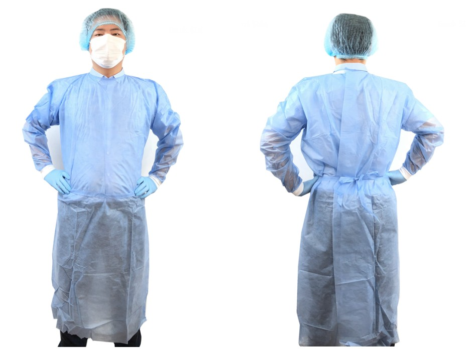 Hot seling uniform SMS PP PE disposable surgical gown scrub suit isolation gown for hospital