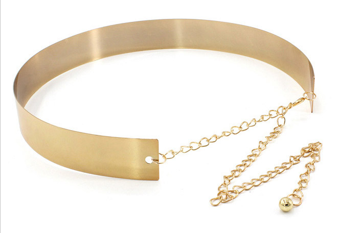 Punk Full Metalllic Polished Shiny Gold Silver Waistband Plate Plain Chain Women Wide Mirror Metal Waist Belt for Lady Dress