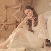 Женская длинная ночная рубашка из мягкого модала, винтажная Осенняя Милая белая кружевная пижама с длинным рукавом, пикантная сорочка, дома...(Китай)