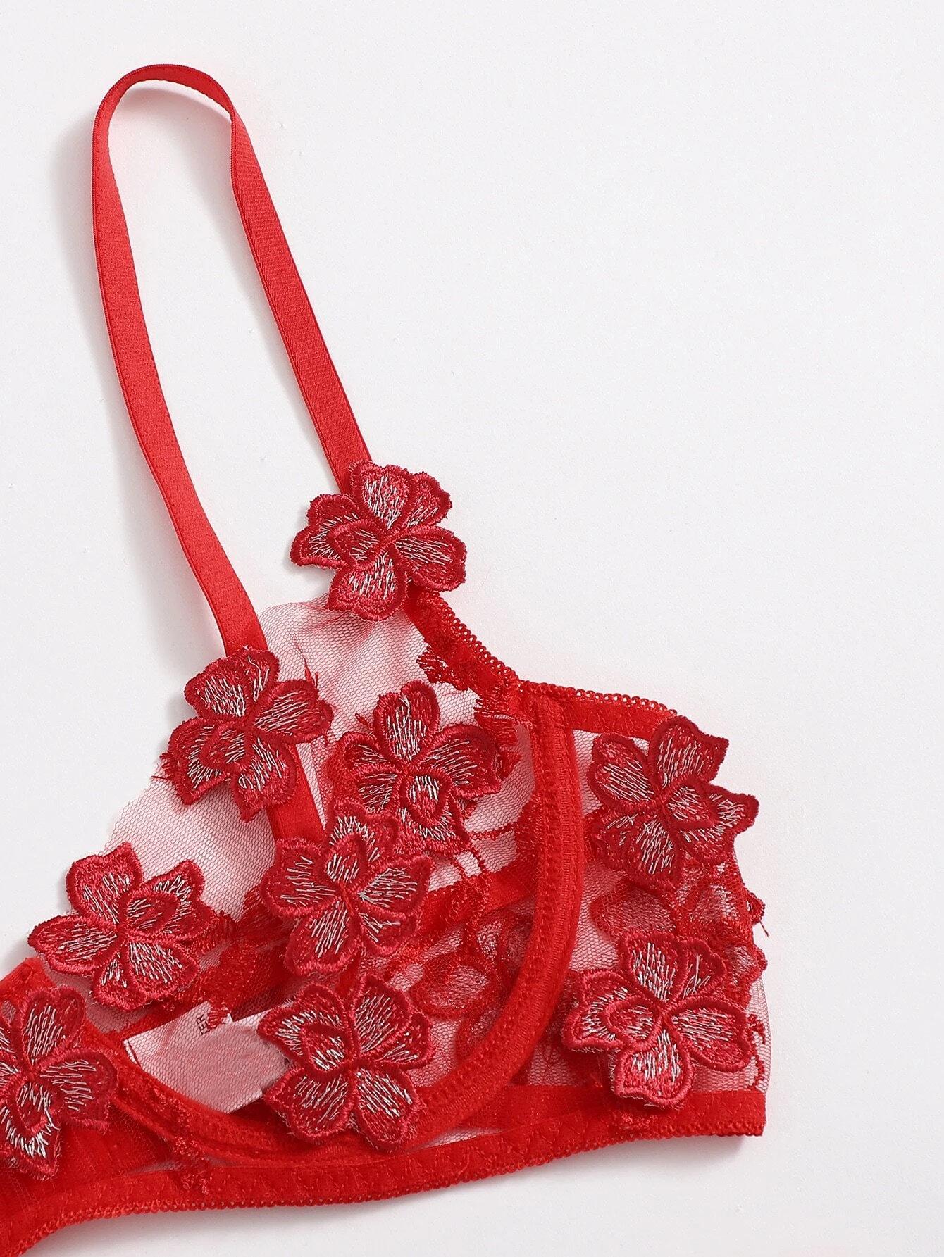Factory wholesale spot Sexy perspective ultra thin underwear suit Appliques Mesh Underwire Set
