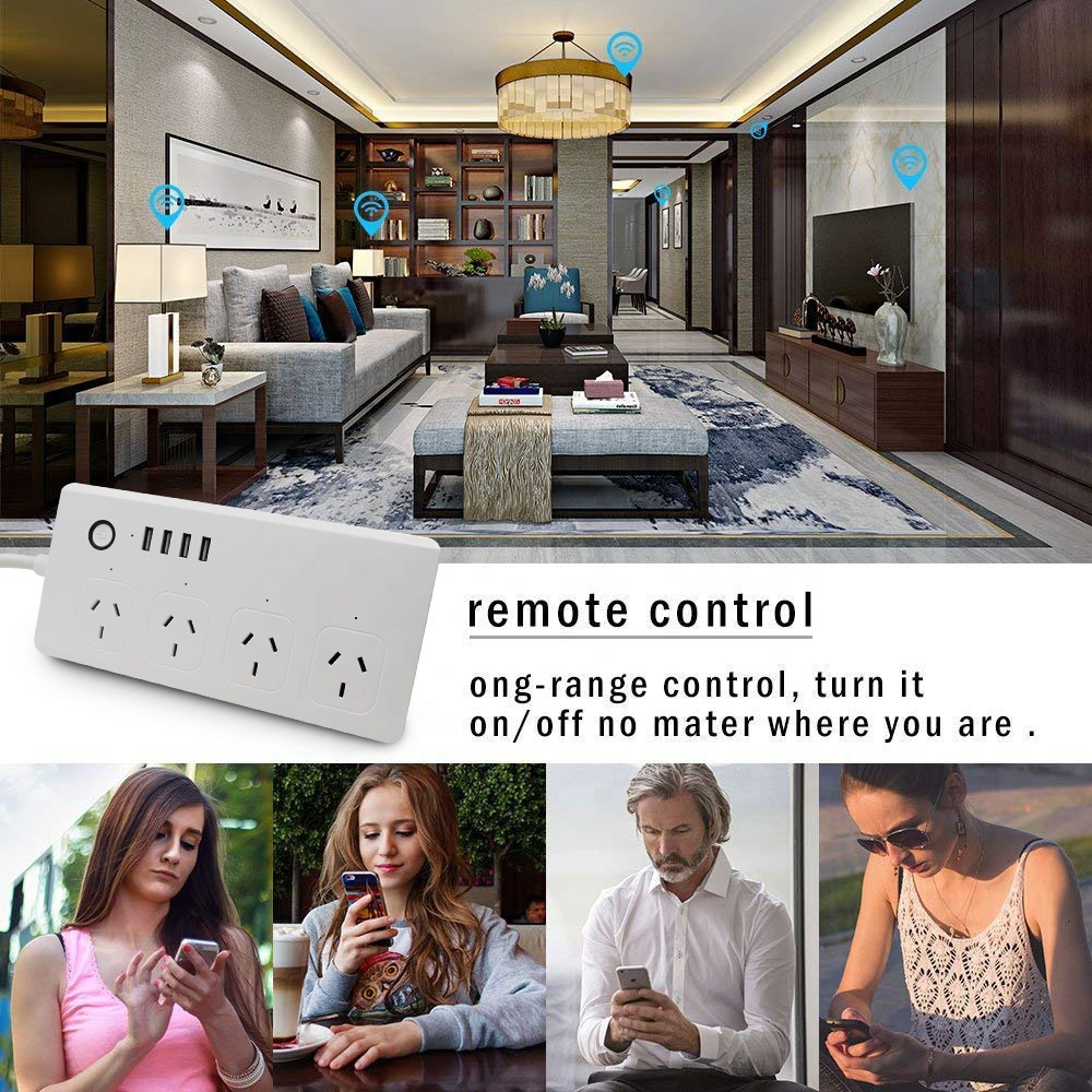 Power Strip with Surge Protector Tuya Smart WiFi Powerboard with 4USB works with Alexa and Google Assistant