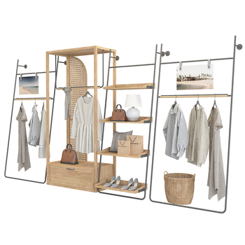 gold lady apparel garment clothes retail store shop fitting clothing interior design and display rack stand store furniture