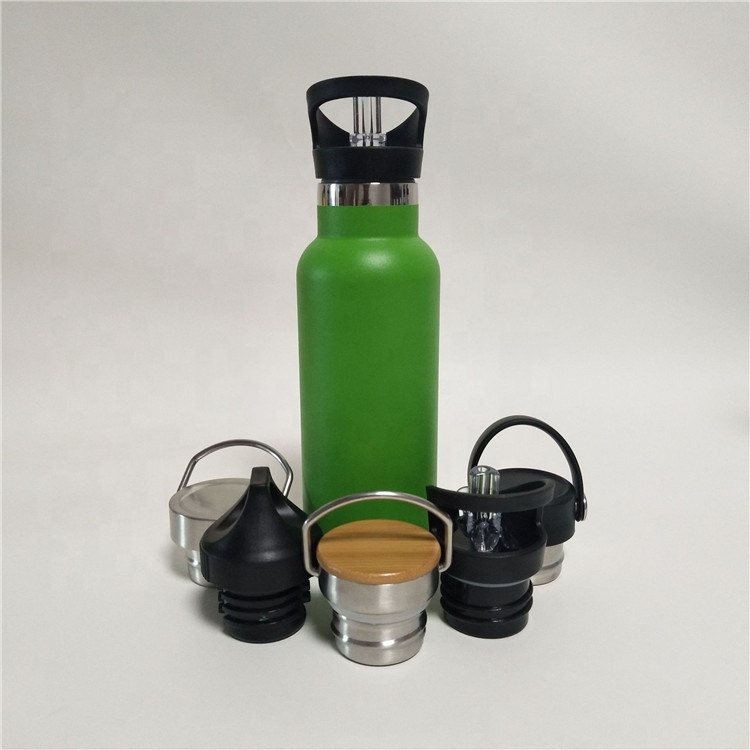 stocked 600ml double wall stainless steel water bottle with straw and handle sport bottle for outdoor insulated