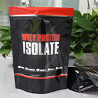 Custom Wholesale 100% Gold Standard Whey Protein Powder Packaging Isolate Plastic Stand Up Resealable Zip Lock Pouch