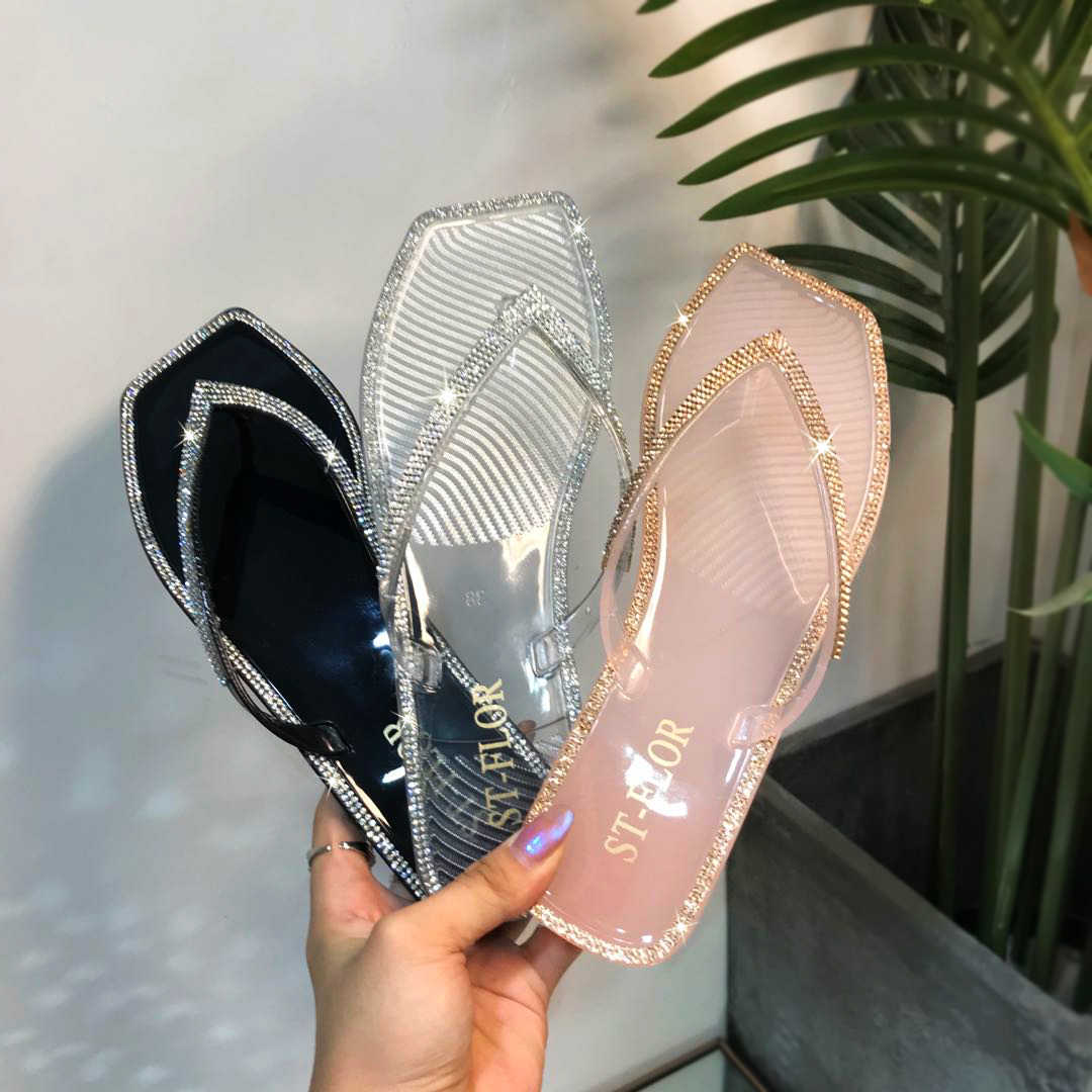 SUMMER WOMEN COlORFUL Diamonds CRYSTAL SHOES SLIPPERS LADY FASHION FILP-FLOP