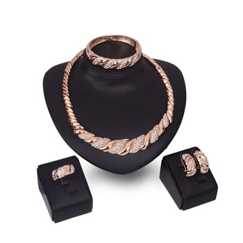 VRIUA RTS Online Vintage Charm Necklace Jewelry Fashion Rhinestone Gold Plated 4Pcs Jewelry Sets For Women