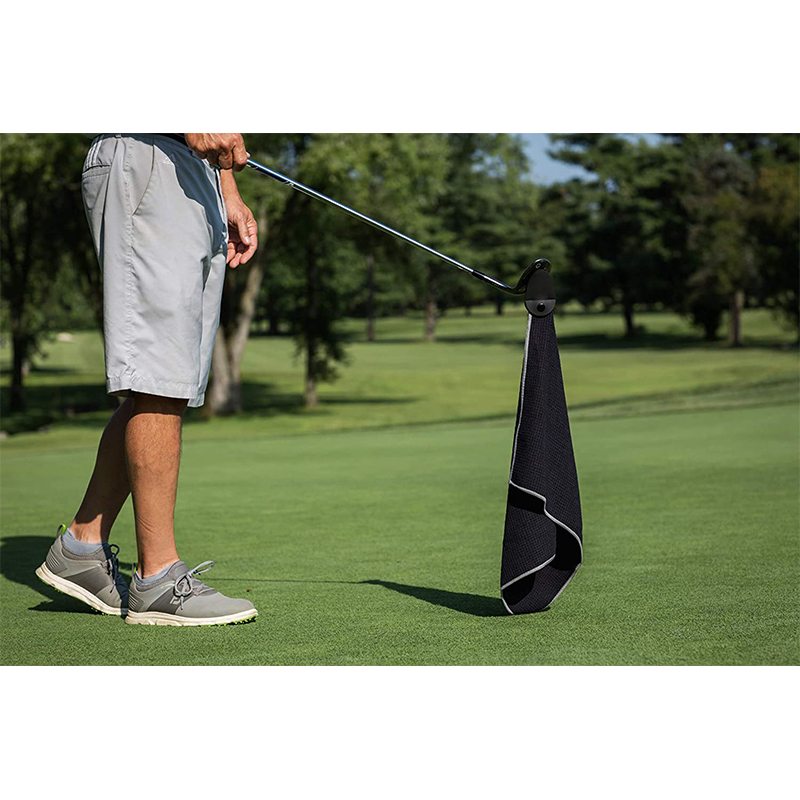 Custom deep waffle weave free golf wet and dry amphibian balls towel with magnet