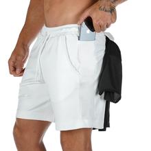 Летние из одноцветной сетчатой ткани, компрессионные быстросохнущие шорты, мужские спортивные штаны, спортивные тренажеры для фитнеса, муж...(Китай)