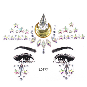 Star Makeup Body Shining Festival Flash Moon Body Art Stickers Adhesive Face Gems Rhinestone Temporary Tattoo Jewels Festival