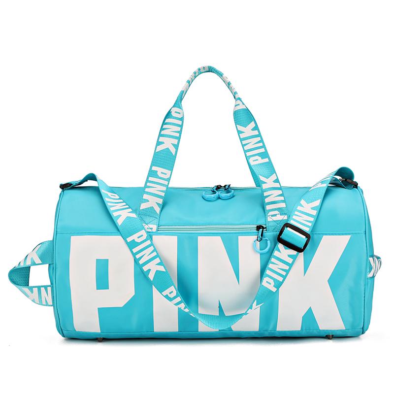 2021 Trendy Custom Logo Outdoor Fashion Women Unisex Shoulder Tote Pink Sport Travel Duffel Bag Overnight Bag for Girls