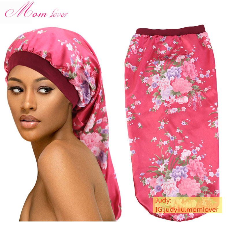 Custom logo Wholesale silk satin hair bonnet extra long braid bonnets sleeping satin bonnet