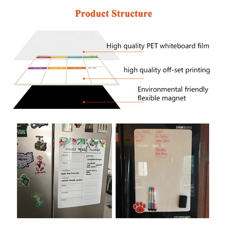 Innovative glass magnetic weekly fridge planner white board dry erase magnetic monthly planner for fridge
