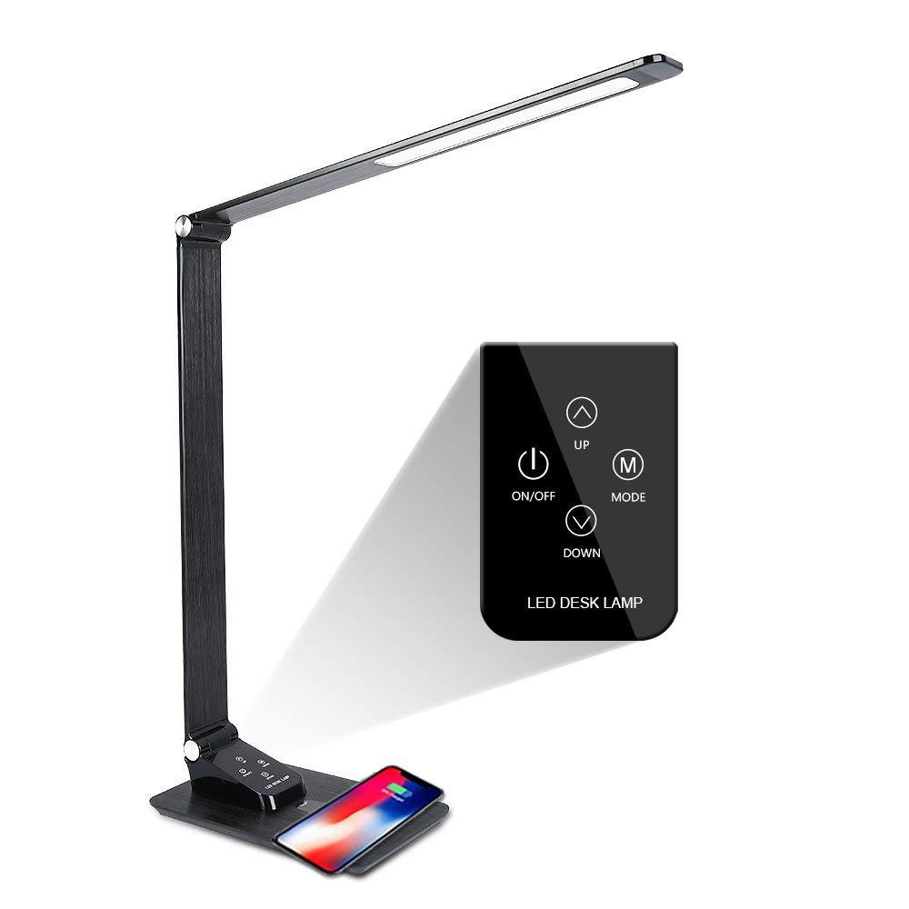 Светодиодная настольная лампа с беспроводным зарядным устройством, складной светильник для мобильного телефона, зарядка через Usb, настольная лампа с беспроводным зарядным устройством Qi